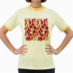 Rose Flower Red Orange Women s Fitted Ringer T Shirts