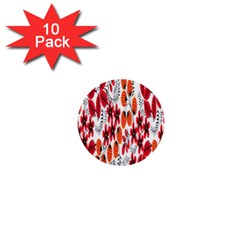 Rose Flower Red Orange 1  Mini Buttons (10 Pack)