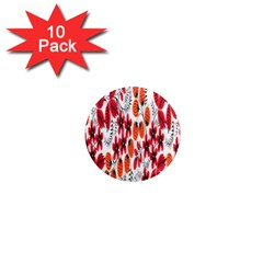 Rose Flower Red Orange 1  Mini Magnet (10 Pack)