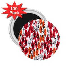 Rose Flower Red Orange 2 25  Magnets (100 Pack)
