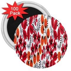 Rose Flower Red Orange 3  Magnets (100 Pack)