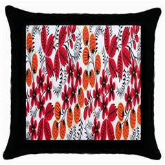 Rose Flower Red Orange Throw Pillow Case (black)