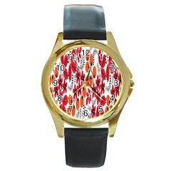 Rose Flower Red Orange Round Gold Metal Watch