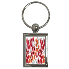 Rose Flower Red Orange Key Chains (rectangle)