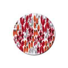 Rose Flower Red Orange Rubber Coaster (round)