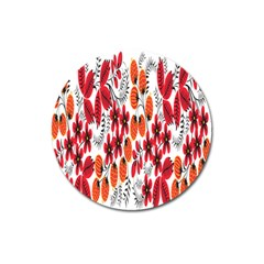 Rose Flower Red Orange Magnet 3  (round)