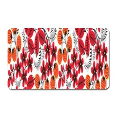 Rose Flower Red Orange Magnet (rectangular)