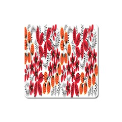Rose Flower Red Orange Square Magnet