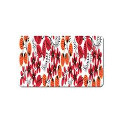 Rose Flower Red Orange Magnet (name Card)
