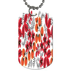 Rose Flower Red Orange Dog Tag (one Side)