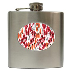 Rose Flower Red Orange Hip Flask (6 Oz)