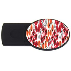 Rose Flower Red Orange Usb Flash Drive Oval (2 Gb)