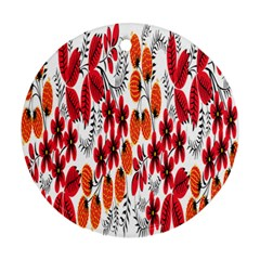 Rose Flower Red Orange Round Ornament (two Sides)