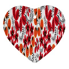Rose Flower Red Orange Heart Ornament (two Sides)
