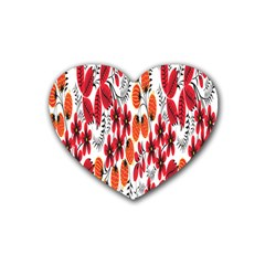 Rose Flower Red Orange Heart Coaster (4 Pack)