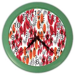 Rose Flower Red Orange Color Wall Clocks