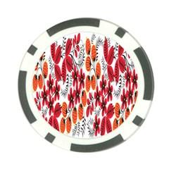 Rose Flower Red Orange Poker Chip Card Guard (10 Pack)