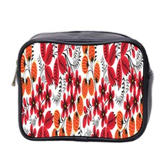Rose Flower Red Orange Mini Toiletries Bag 2 Side