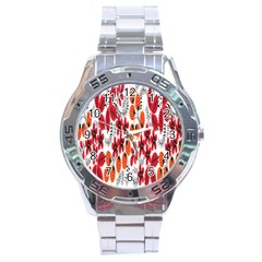 Rose Flower Red Orange Stainless Steel Analogue Watch