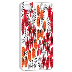 Rose Flower Red Orange Apple Iphone 4/4s Seamless Case (white)