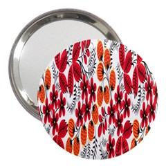 Rose Flower Red Orange 3  Handbag Mirrors
