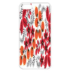 Rose Flower Red Orange Apple Iphone 5 Seamless Case (white)