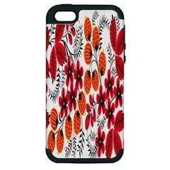 Rose Flower Red Orange Apple Iphone 5 Hardshell Case (pc+silicone)