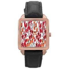 Rose Flower Red Orange Rose Gold Leather Watch