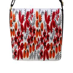 Rose Flower Red Orange Flap Messenger Bag (l)