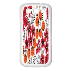 Rose Flower Red Orange Samsung Galaxy S3 Back Case (white)