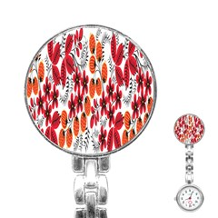 Rose Flower Red Orange Stainless Steel Nurses Watch