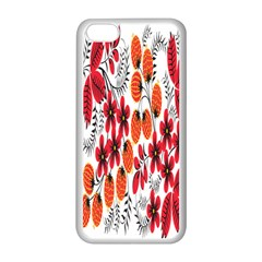 Rose Flower Red Orange Apple Iphone 5c Seamless Case (white)