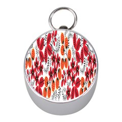 Rose Flower Red Orange Mini Silver Compasses