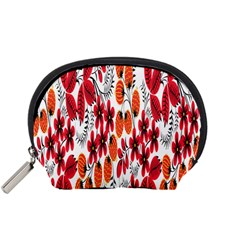 Rose Flower Red Orange Accessory Pouches (small)