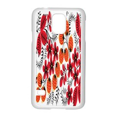Rose Flower Red Orange Samsung Galaxy S5 Case (white)