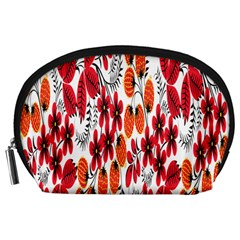 Rose Flower Red Orange Accessory Pouches (large)