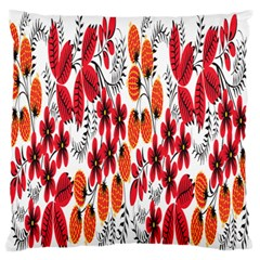 Rose Flower Red Orange Large Flano Cushion Case (two Sides)