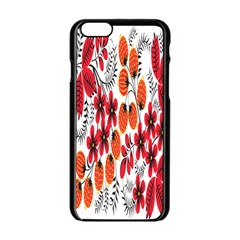 Rose Flower Red Orange Apple Iphone 6/6s Black Enamel Case