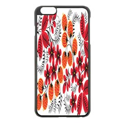 Rose Flower Red Orange Apple Iphone 6 Plus/6s Plus Black Enamel Case