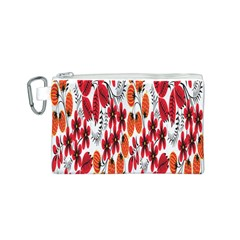 Rose Flower Red Orange Canvas Cosmetic Bag (s)