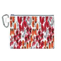 Rose Flower Red Orange Canvas Cosmetic Bag (l)