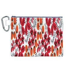 Rose Flower Red Orange Canvas Cosmetic Bag (xl)