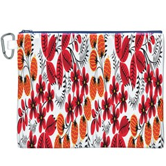 Rose Flower Red Orange Canvas Cosmetic Bag (xxxl)