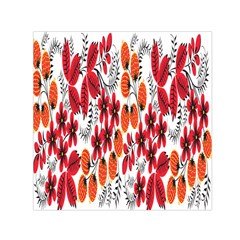 Rose Flower Red Orange Small Satin Scarf (square)