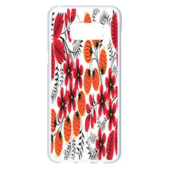 Rose Flower Red Orange Samsung Galaxy S8 Plus White Seamless Case