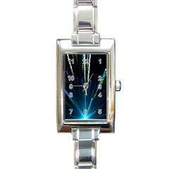Seamless Colorful Blue Light Fireworks Sky Black Ultra Rectangle Italian Charm Watch