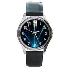 Seamless Colorful Blue Light Fireworks Sky Black Ultra Round Metal Watch