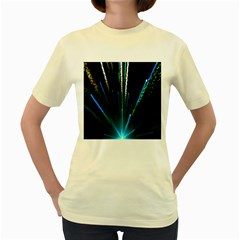 Seamless Colorful Blue Light Fireworks Sky Black Ultra Women s Yellow T Shirt