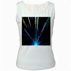 Seamless Colorful Blue Light Fireworks Sky Black Ultra Women s White Tank Top