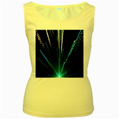 Seamless Colorful Blue Light Fireworks Sky Black Ultra Women s Yellow Tank Top